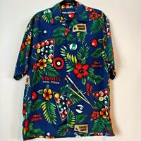 Box Office Island Mens Blue Billiards Short Sleeve Button Up Shirt Top Medium