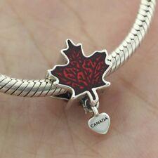925 Sterling Silver Love Canada Maple Leaf Charm Red Enamel Dangle Fit Bracelet