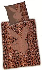 Bettwäsche Playboy - Schlangenmuster Bunny - 135 x 200 cm - Mikrofaser - braun