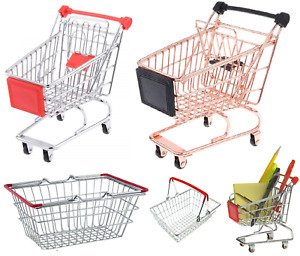 Children's Mini Metal Shopping Trolley & Basket Pretend Role Play Kids Toy
