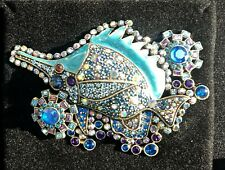 "Heidi Daus ""Tropical Sparkle"" Crystal and Enamel Fish Pin"