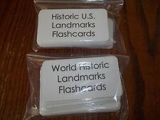 109 US and World Historical Landmarks Laminated Flashcards.  Geography, History.