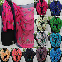 Fashion Women Various Cute Birds Print Soft Casual Long/Infinity Voile Scarf New