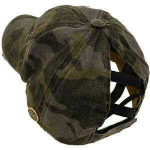 C.C Ponytail Criss Cross Messy Buns Baseball Cap Hat Button Hook Camo Black