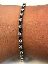 "Sterling Silver 925 Blue Jadeite & White Stone Tennis Bracelet 7"""