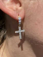 14k Gold Over 925 Sterling Silver Men Ladies Dangle Cross Hoop Earrings Iced