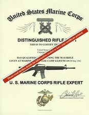 U.S. Marine Corps Expert Rifle Mike 14 or 16 Replacement Certificate