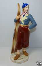 "Rare Goldscheider Keramos Dakon Art Deco Ski Girl Ceramic 13"" Figurine Lot1"