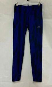 Adidas Climalite Ladies Sports Leggings Blue Black Tiger Print UK 8-10 Small