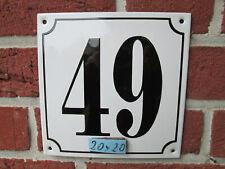 Hausnummer Mega Groß  Emaille Nr 49 schwarze Zahl weißer Hintergrund 20cmx20 cm