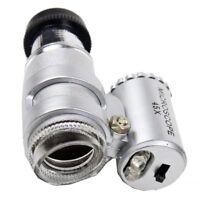 45X Mini Pocket Microscope Magnifier Magnifying Glass Jeweler Loup 2LED Lig J5V8