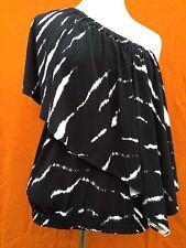 Authentic MICHAEL KORS black / white ( zebra print ) one shoulder top , s. S(10)