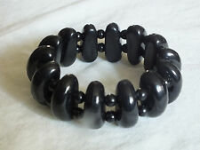 Beautiful Stretch Bracelet Black Plastic 1 1/8 Inch Wide NICE