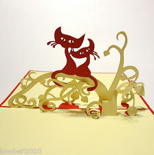 POP UP 3D Klapp-Karte *Katzen-Paar* Glückwunschkarte Grußkarte Katze Kater Cat