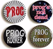 Prog Rock Badge Button Pin Set (size Is 1inch/25mm Diameter) Seventies 1970s