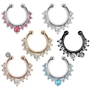 CRYSTAL SEPTUM FAKE NOSE RING CLIP ON NOSE RING STAINLESS STEEL YOU CHOOS COLOR