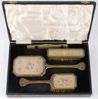 ANTIQUE VICTORIANFILIGREE NEEDLEPOINT VANITY HAND MIRROR BRUSH set box