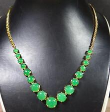 Yellow Gold Plate CHINESE Icy Green JADE Circle Bead Beads Necklace 283793 US