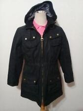 Womens BARBOUR International Hooded Parka WAXED Jacket Black Size UK 12 USA 8