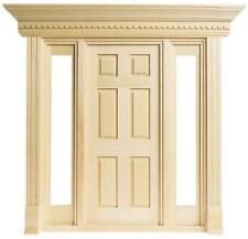 More details for dolls house jamestown 6 panel front door large with side windows 1:12 scale