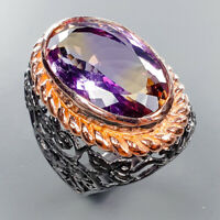 Ametrine Ring Silver 925 Sterling Antique Art Design Size 8 /R133777