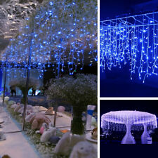 5M Blue Waterfall Icicle String Fairy Lights House Garden Xmas Window Display UK