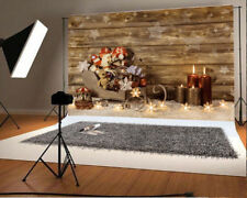 Vinyl 7x5ft Photo Backdrops Christmas Wooden Candle Photography Background