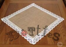 Pack Of 2 Large Hessian And Lace Square Mats