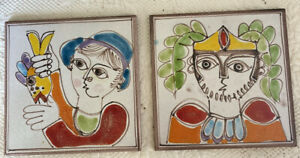 """2 Vintage Italian 6"""" Tile Man Catching Fish & Soldier Italy Hand Painted Italy"""