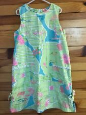 Lilly Pulitzer Map To Miami Shift Dress RARE Vintage VHTF Girls Size 7