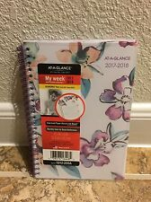 At-A-Glance Weekly Monthly Academic 2017 2018 Calendar Planner Purple Floral New