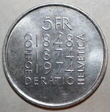 Swiss 5 Francs Coin 1974 - KM# 52 - Switzerland 100th Constitution Five Helvetia
