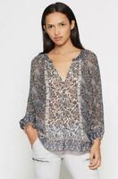 Joie Gloria Navy Silk Patterned Blouse S EUC