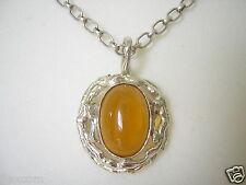 Antik Honig Bernstein Amber Echt Silber Anhänger Pendant Design 925 Silber Kette