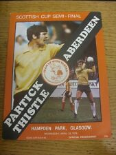 12/04/1978 Scottish Cup Semi-Final: Partick Thistle v Aberdeen [At Hampden Park]