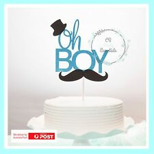 BABY BOY GLITTER CAKE TOPPER PARTY EVENT BABY SHOWER  FIRST BIRTHDAY CAKE SMASH