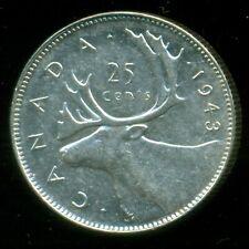 1943 Canada 25 Cent Piece, King George VI    P215