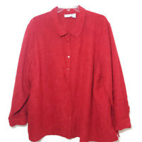 Liz & Me Womens Size 4X Heavy Blouse Button Front Long Sleeve Red