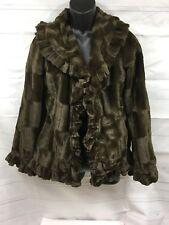 Damselle vintage jacket, FAUX FUR, women sz sm, Brown
