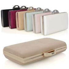 Womens Faux Suede Clutch Bag Ladies Bridal Evening Party Purse Handbag UK