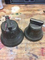 (2) Vintage Brass Sleigh Bells,Chiantel Fondeur, 1878 Saignelegier . Great Sound