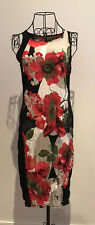 Motto Red Black and White Sleeveless Stretch Fitted Dress Size S-M