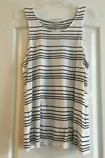 NEW White Black Stripes BANANA REPUBLIC Signature Tee Collection Tank Top L NWT
