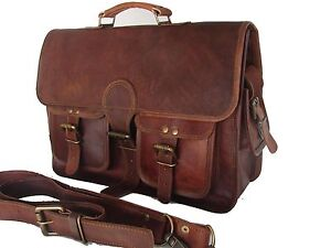 "15x11"" Real Brown Leather Padded Briefcase Attache Macbook Laptop Satchel Bag"