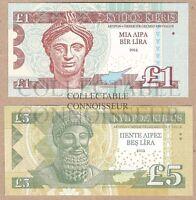 Cyprus 1 & 5 Pounds 2013 2014 UNC Essay SPECIMEN Test Note Banknote Set - 2 pcs