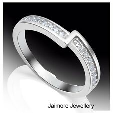 Real 925 Sterling Silver Size 8  Eternity Dress CZ Ring Elegant Ring Free Gift