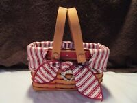 Longaberger Red Ticking Fabric Liner for 1999 LOVE LETTERS Sweetheart Basket