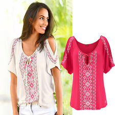 Womens Cold Shoulder Baggy Modal Shirt Blouse Ladies Casual Long Sleeve Tee Tops