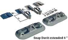 Snap Davits for inflatable boat & swim platform w Quick release kit Extended 4""