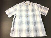 Tommy Bahama Mens Blue Plaid Front Pocket Button Front Shirt Size Large